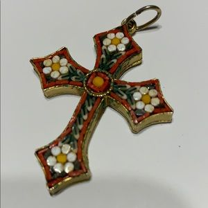 "Mosaic Cross 2"" pendant with jumpring."